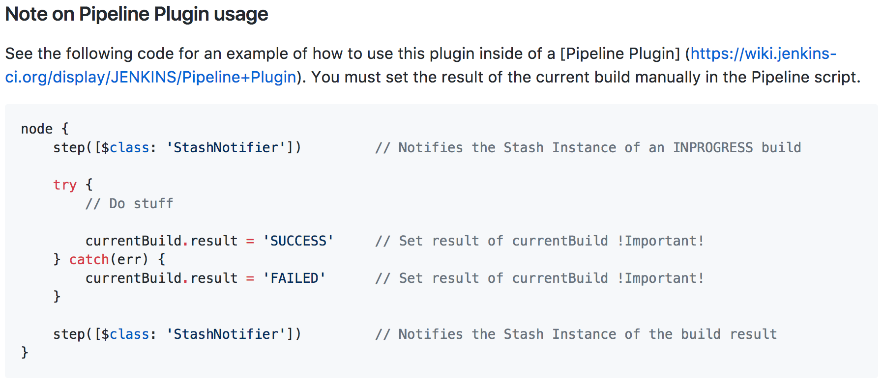 Stash Notifier plugin Pipeline support